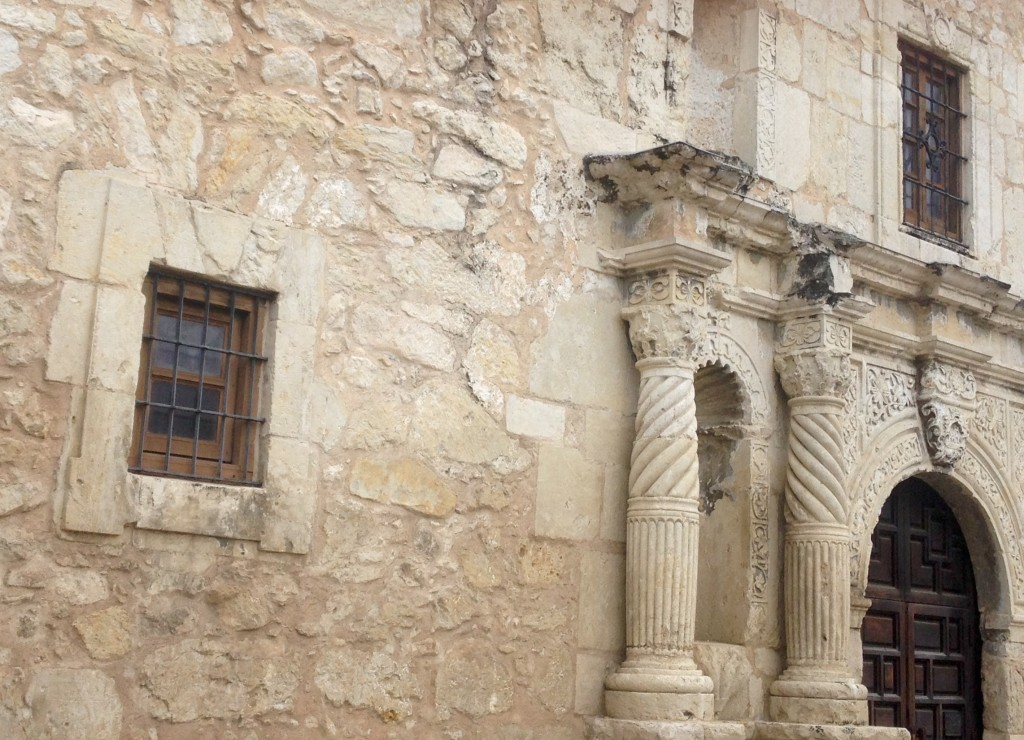 This is the entrance to the shrine of the Alamo. It is an old beige colour and not too intricate. Please know before you go that this is the main museum.