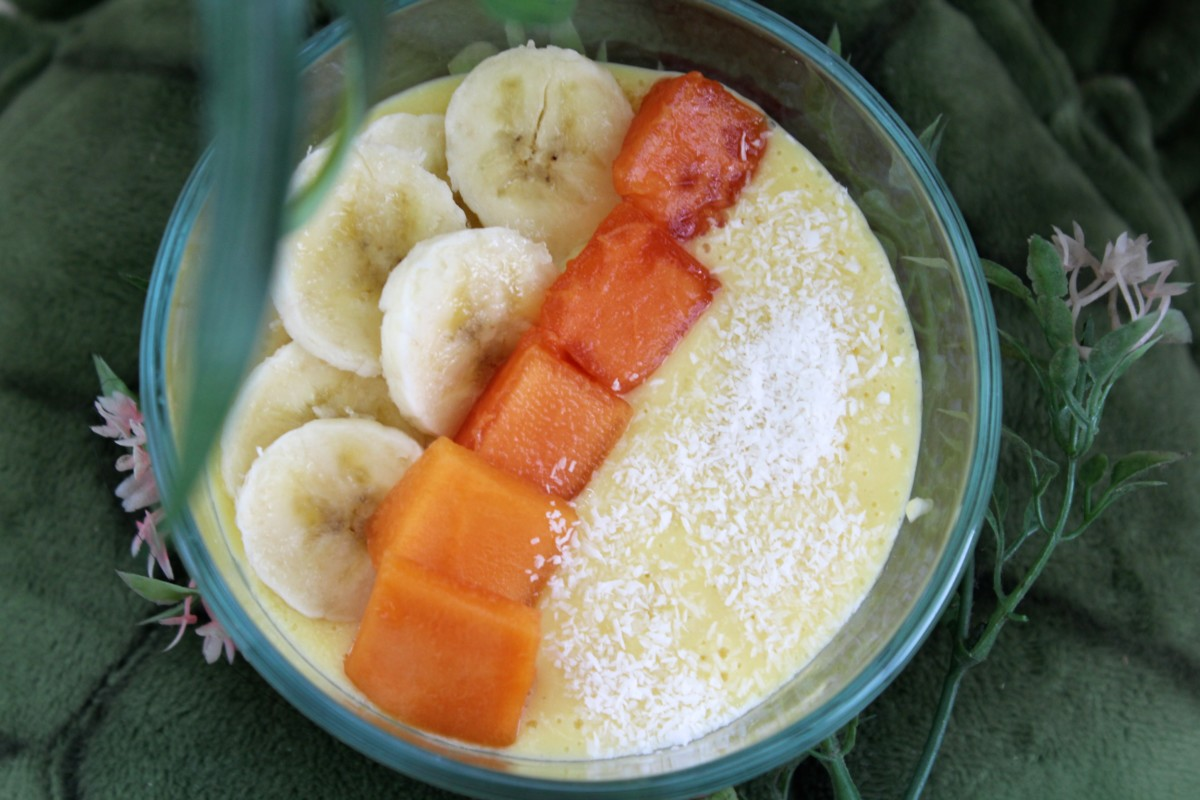Goa Inspired Mango Smoothie Bowl. Also with the mango and papaya, this oxygen-rich recipe is full of healthy ingredients. In fact one serving could help prevent altitude sickness while traveling in a safe, natural and tasty way.