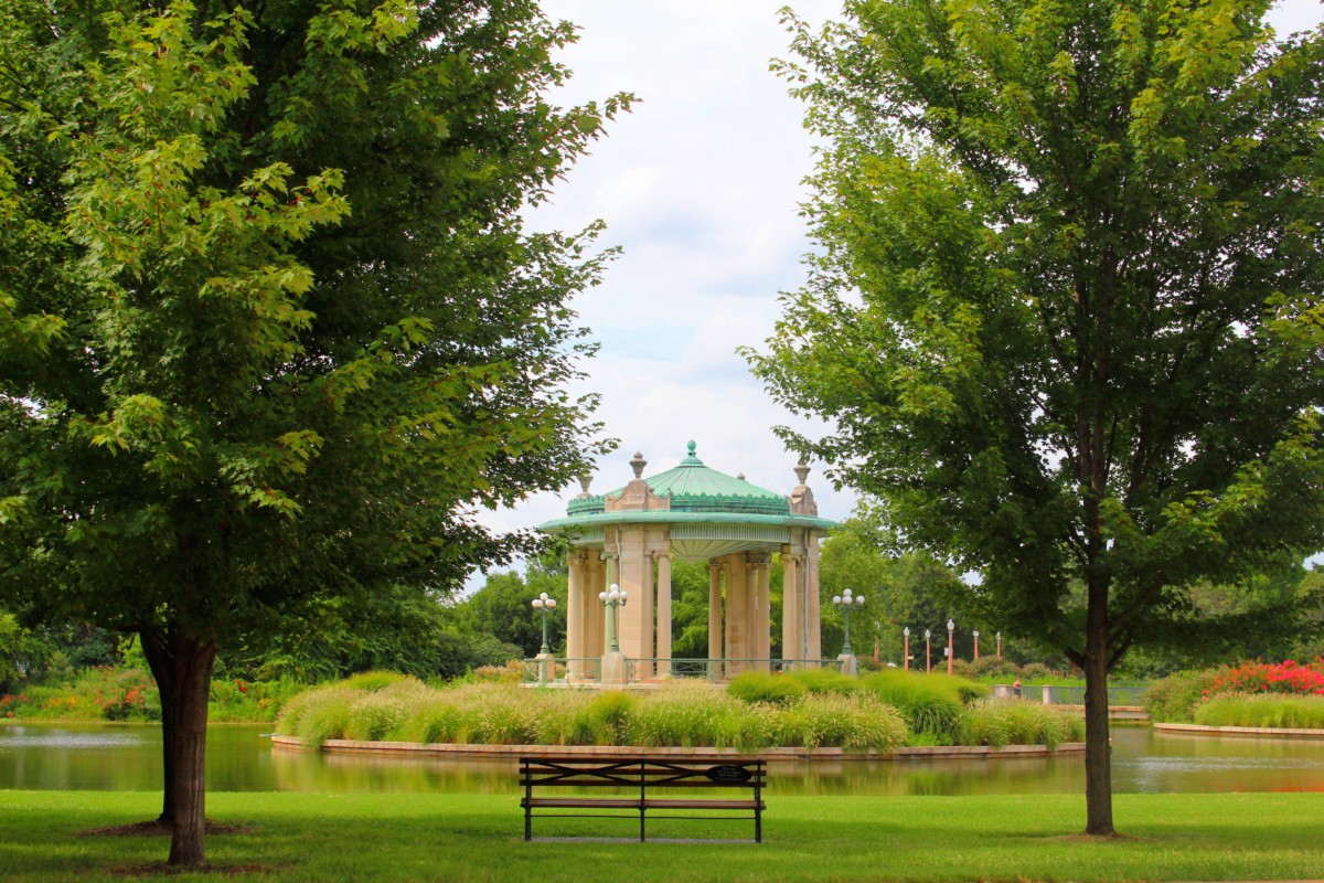Guide to Forest Park Pagoda is now A Copper Topped Bandstand in the midst of a lake and a lush green park