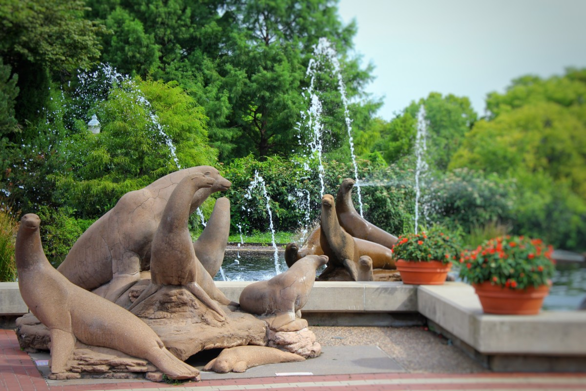 Guide to Forest Park St. Louis South Entrance Sea Lion Life-Size Statues