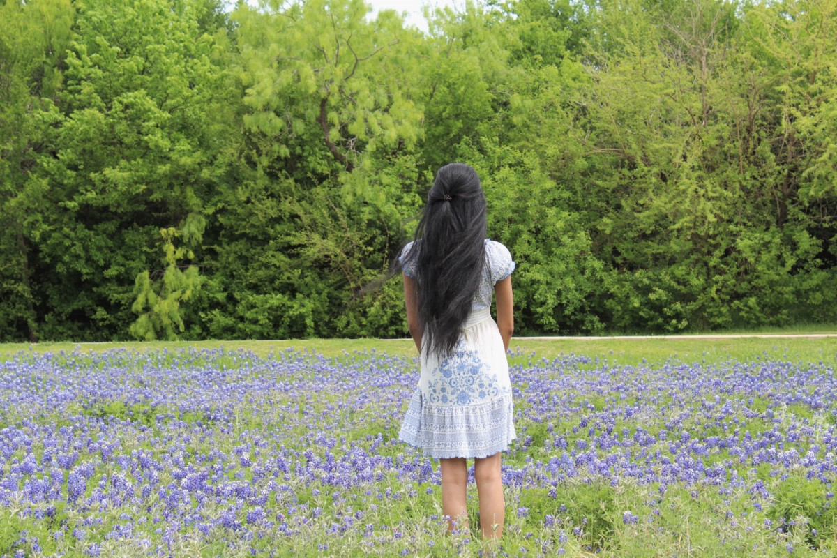 The entrance to Veteran's Memorial Park is one of the Best Places to See Bluebonnets in Ennis, Texas