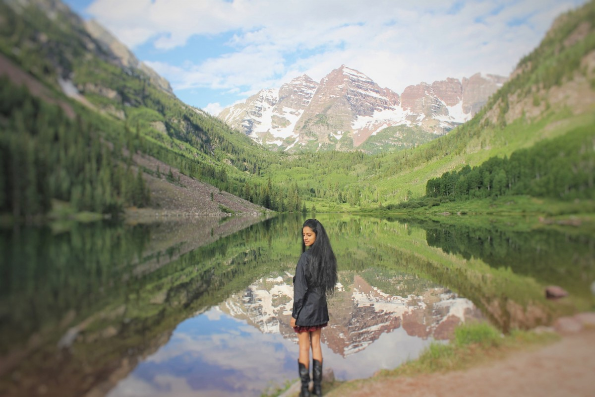 Ohhh...goodness, this shot of the Maroon Bells (cliched blogger standing in front of mountains) is one of the bucket list things to do in Aspen