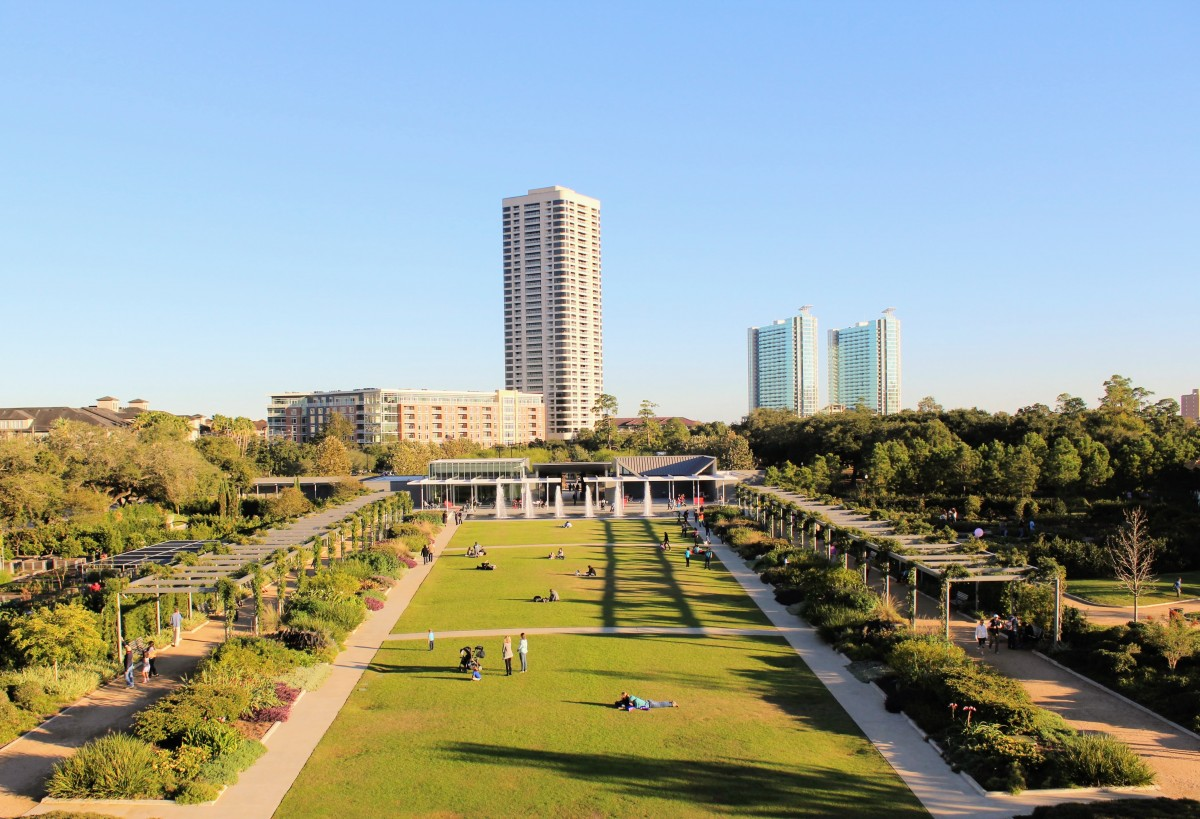 Things to do in Houston when it rains: in light rain, visit Hermann Park - this is the view from the top of the Spiral Hill