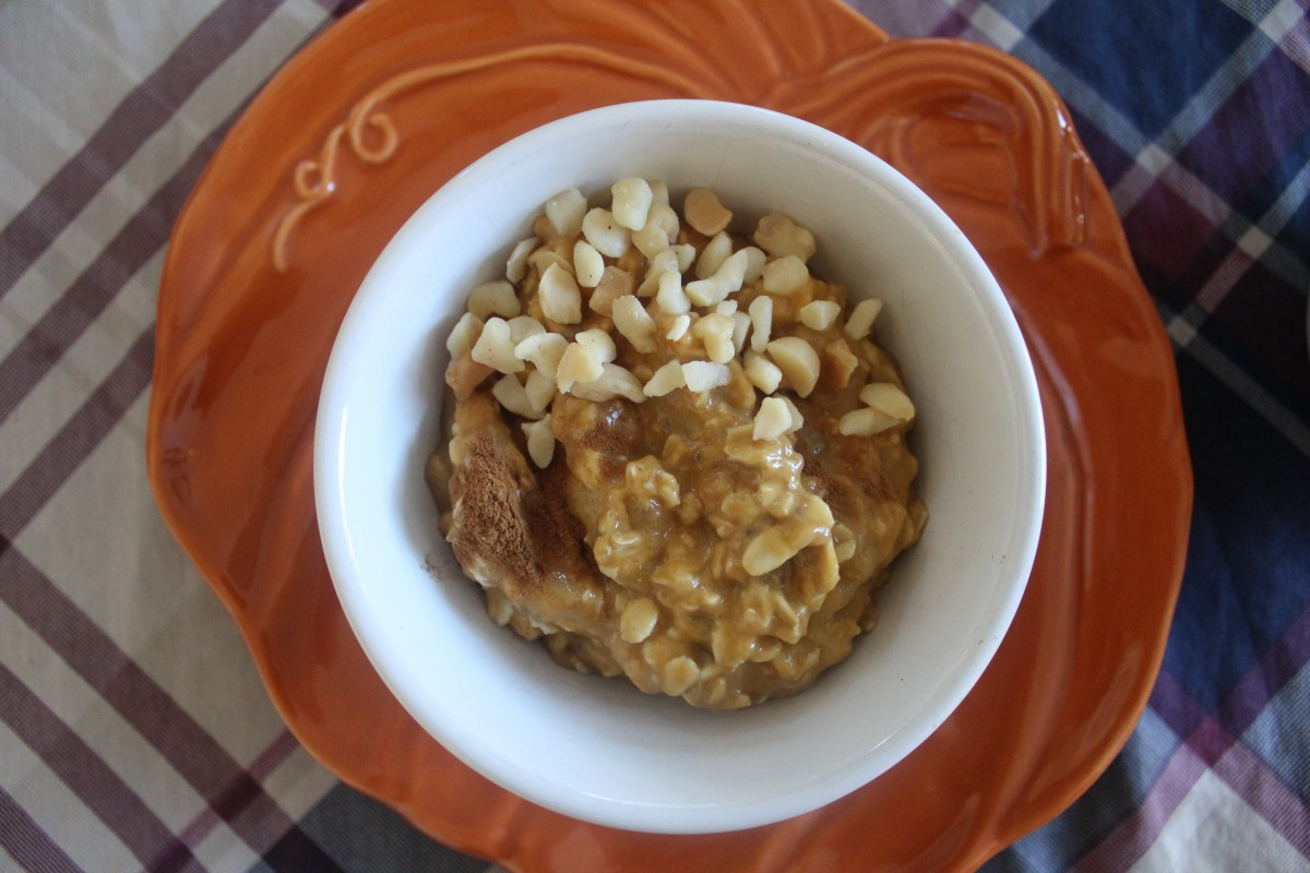 Fall Pumpkin Overnight Oatmeal topped with macadamia nuts