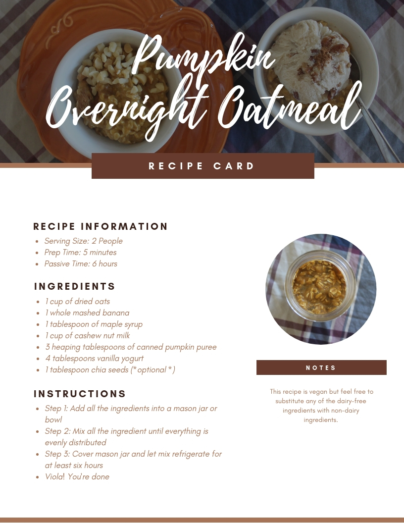 Fall Pumpkin Overnight Oatmeal Printable Recipe Card