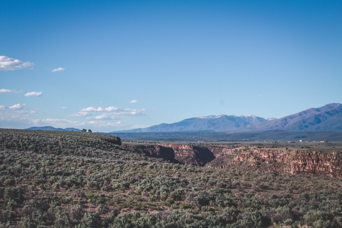View of mountains and gorge along my Santa Fe to Taos road trip!