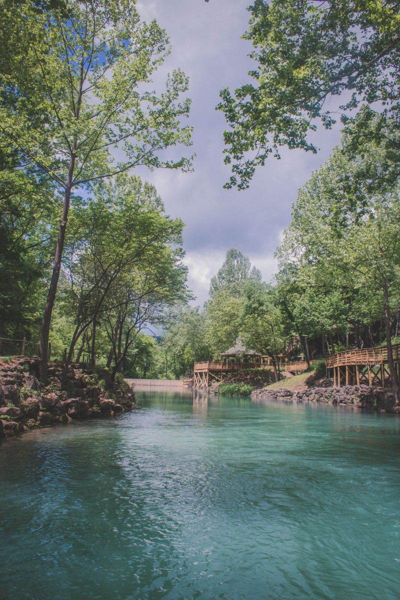 Photo of Blue Spring Arkansas lagoon water. The lagoon is wide and seems to continue forever under a crowd of trees.