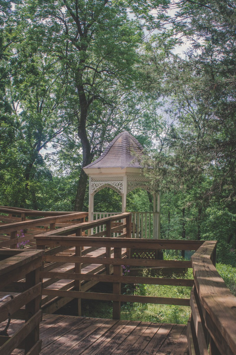 Blue Spring Arkansas wheelchair accessible wooden ramp and a fairytale gazebo just off the ramp.