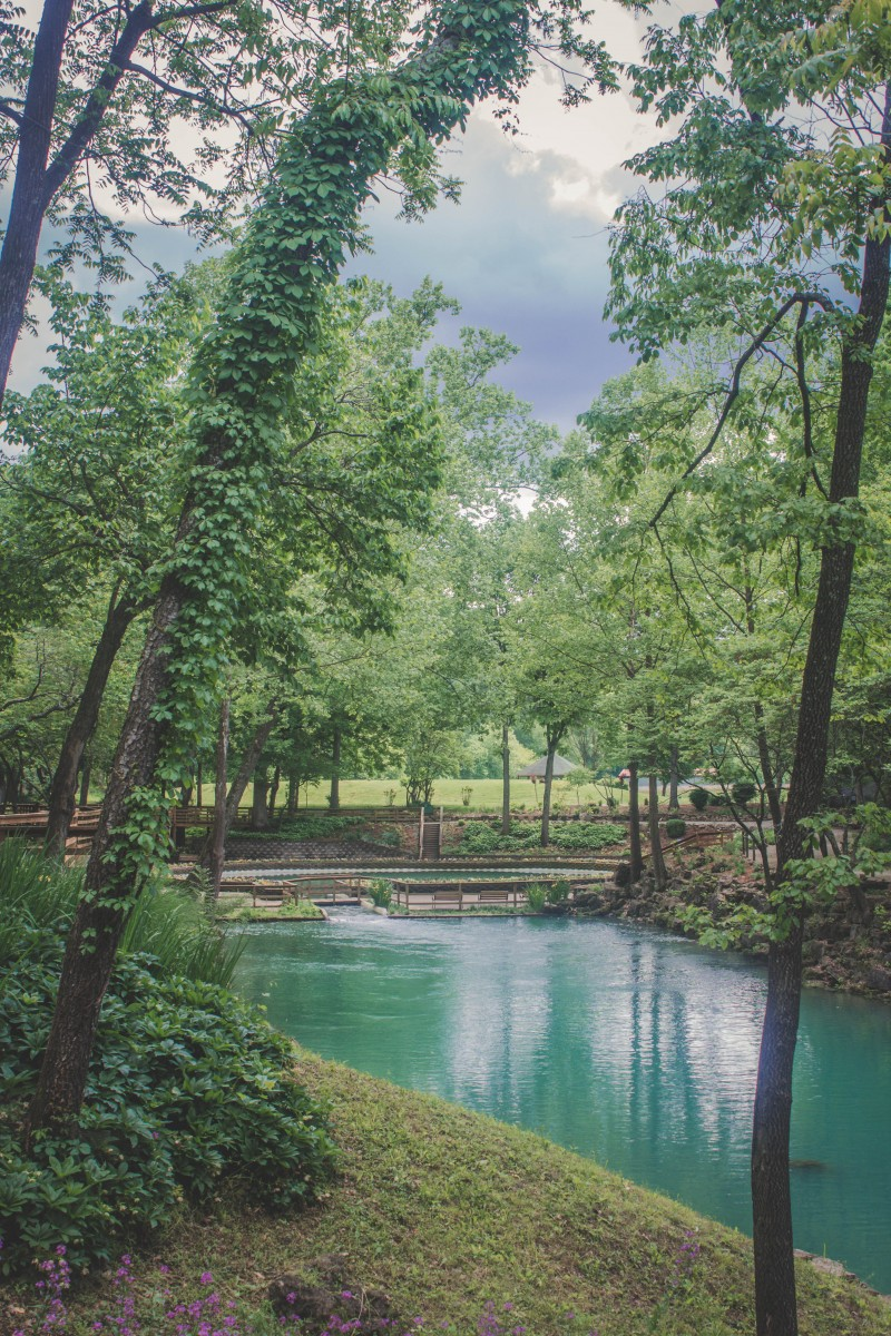 Actual Blue Spring in Arkansas shown from the viewpoint of the lagoon. You can see the rough shape of the circular spring and in the distance, the trail of tears.