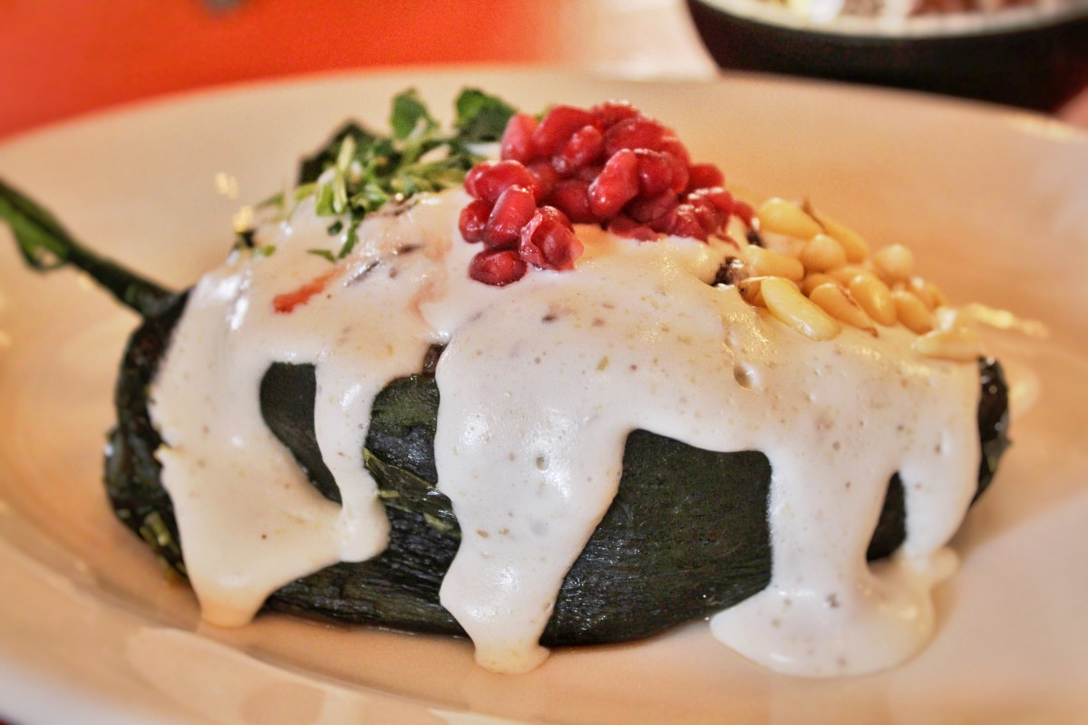 the most delicious stuffed chile I've ever had from Casa Chimayo is elegantly plated and on of the best New Mexican foods on the planet.