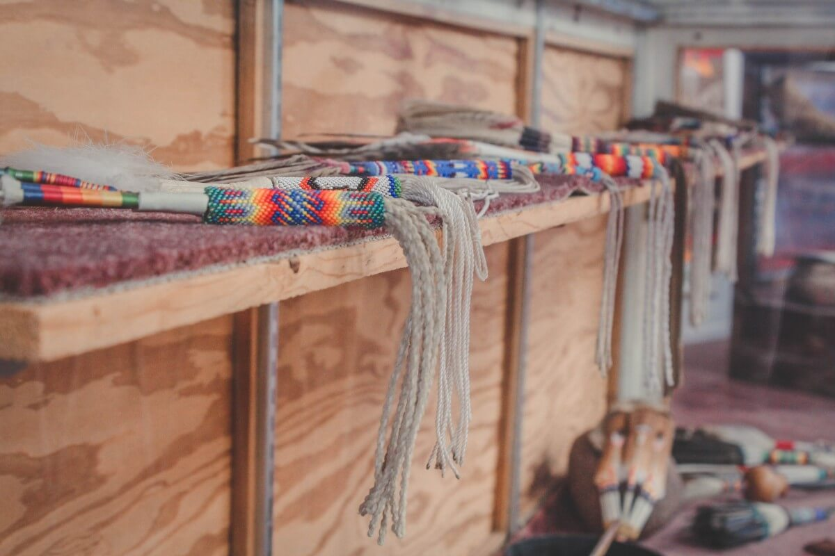 Shelves of colorful beadwork
