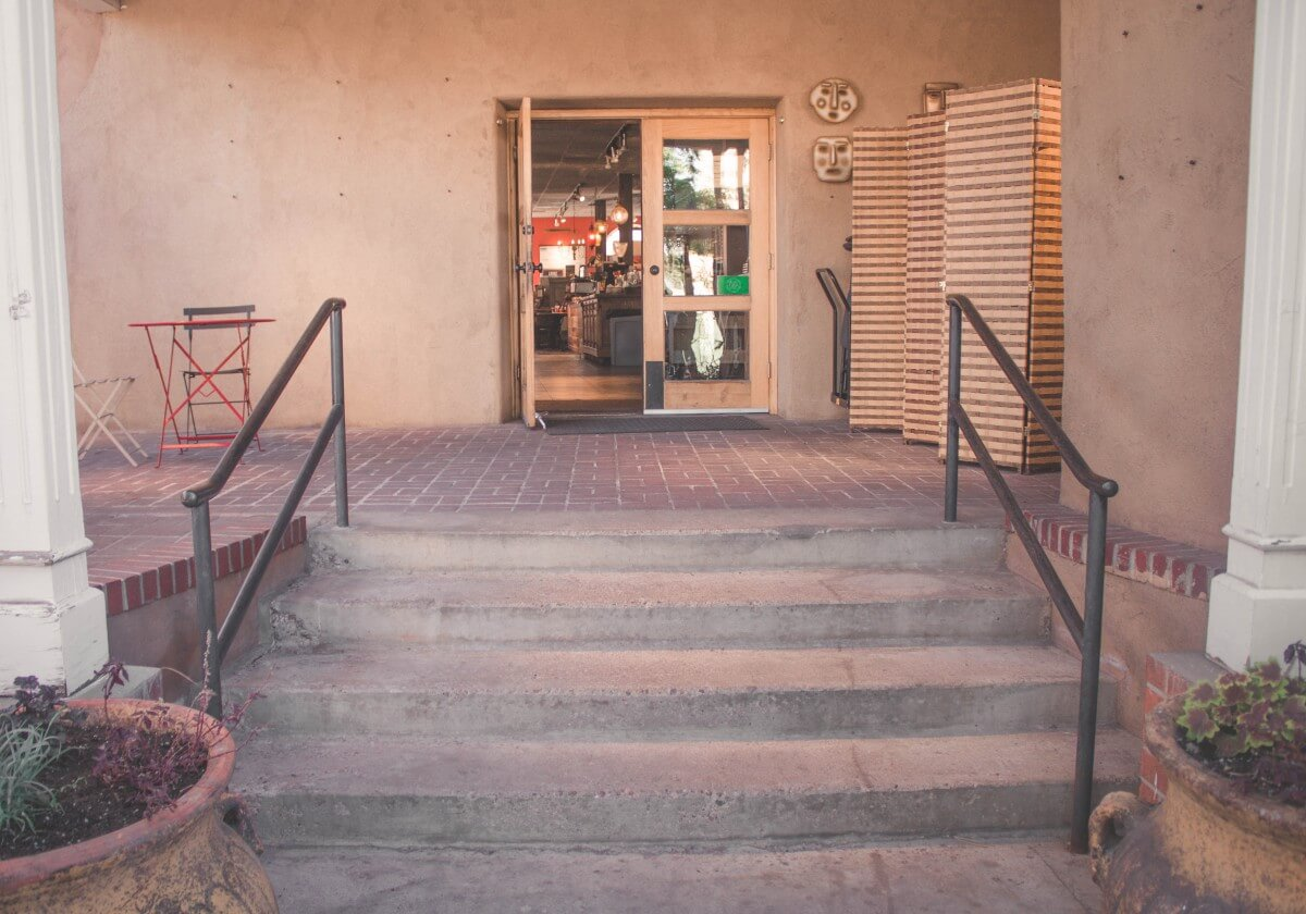 Stairs leading up to the entrance of Collected Works Bookstore and Coffeehouse in Santa Fe