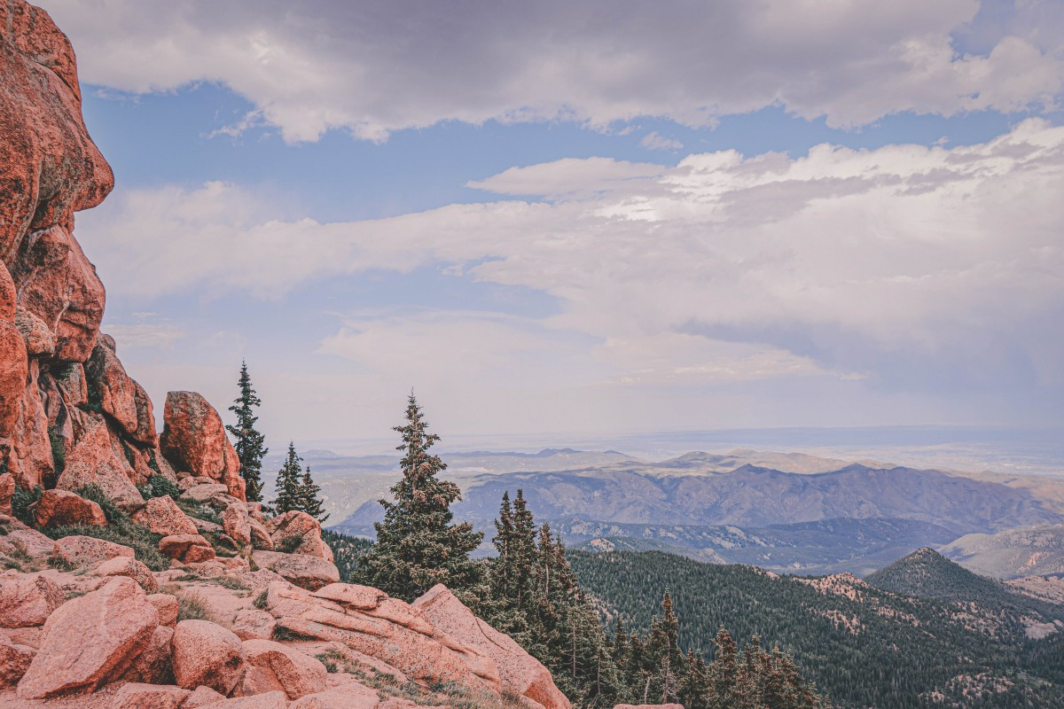View of mountains in Colorado while hiking Pikes Peak