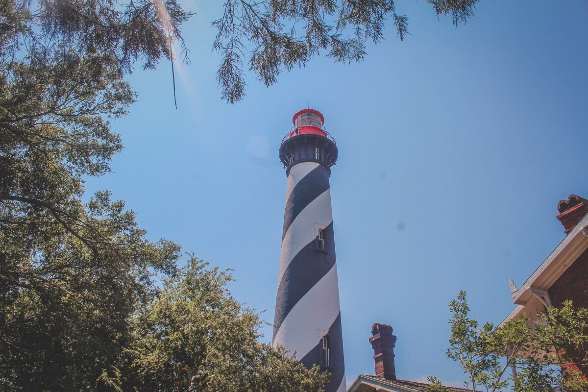 Lighthouse (black and white candy cane like stripes) at the St. Augustine Lighthouse & Maritime Museum