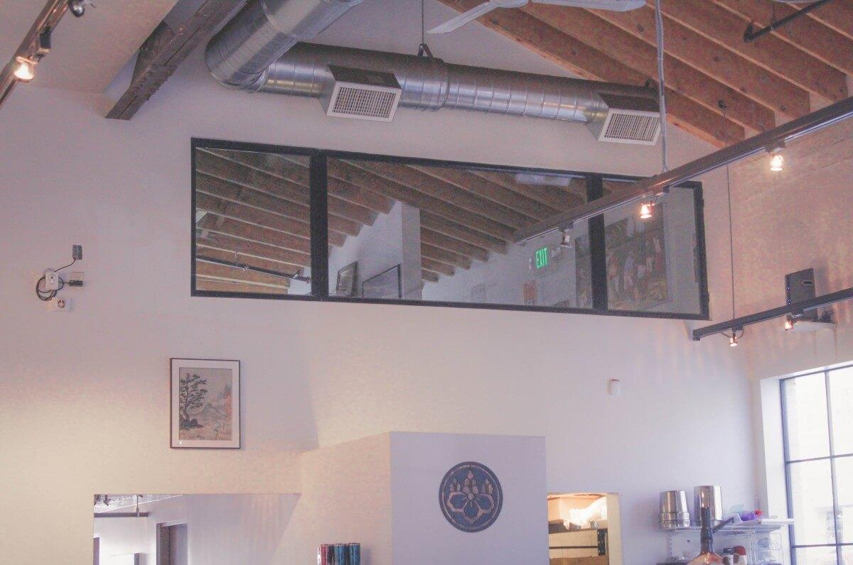 plain white on white Interior of Ohori's Luna Location coffee in Santa Fe