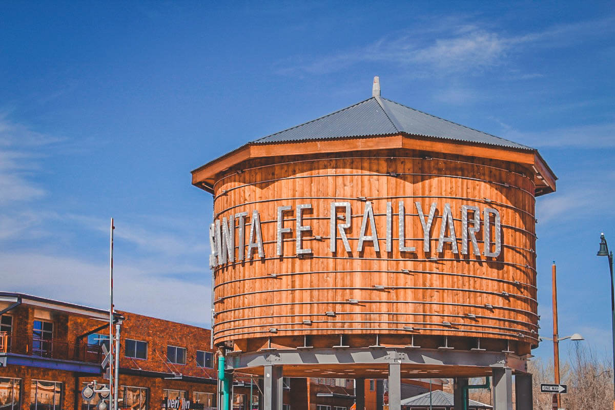 view of the Santa Fe Railyard Water Tower from Sky coffee in Santa Fe