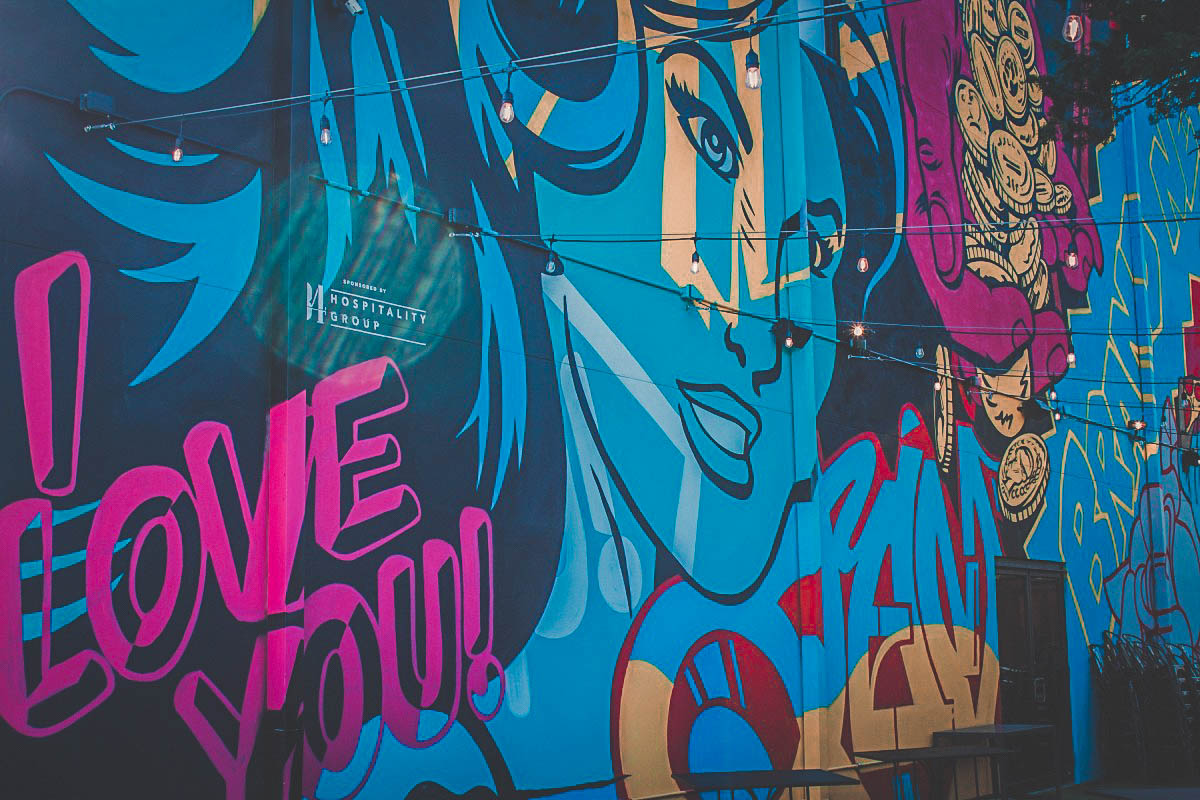 pop art wall in Plaza District representing one of the best comic bookstores in Oklahoma City