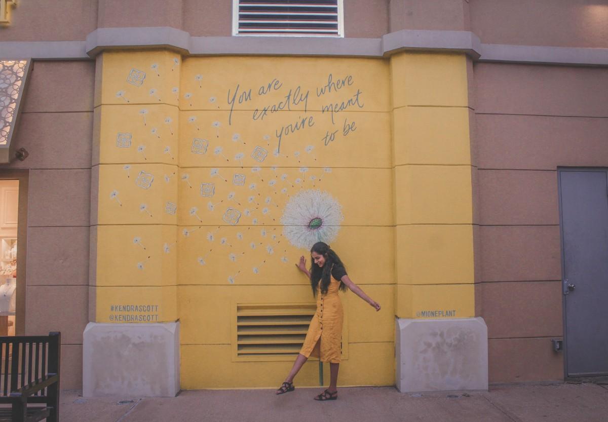 yellow wall outside of Kendra Scott in  West Village