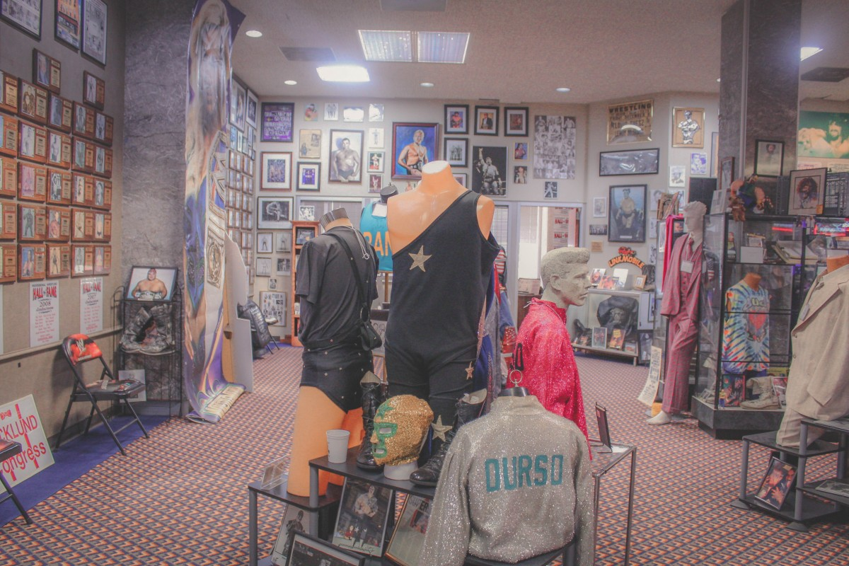 Photo of wrestling outfits at the Wrestling Hall Of Fame in Wichita Falls
