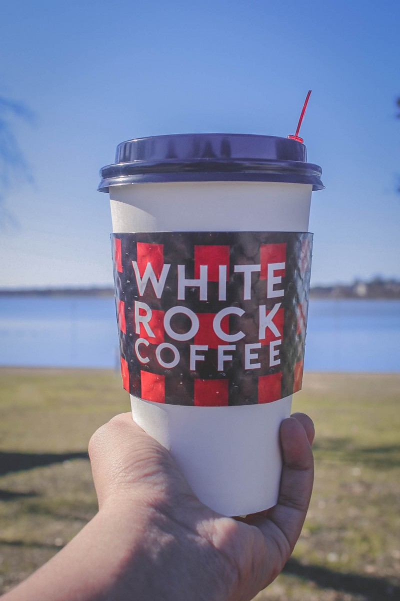 Giant cup of White Rock Adam Bomb coffee in Dallas