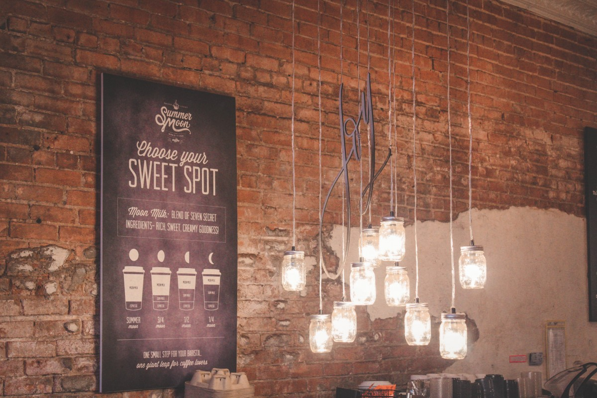 Summer Moon Coffee string of mason jar lights