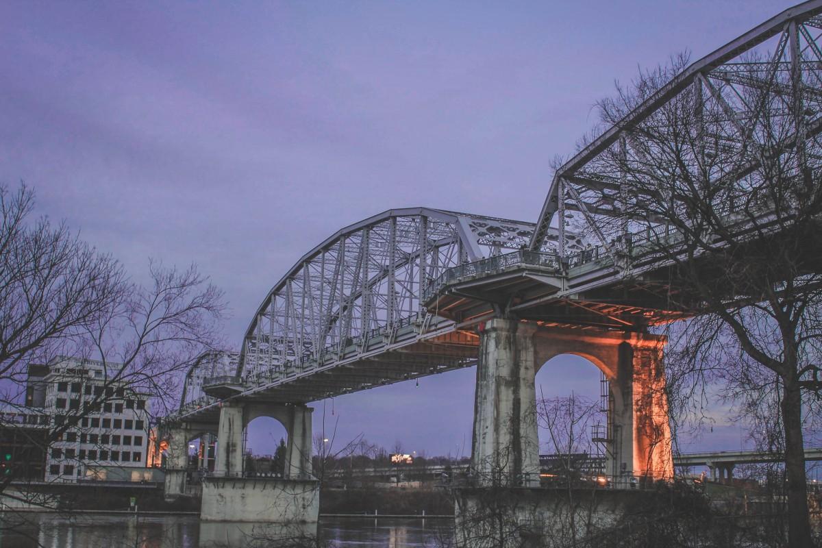 John Seigenthaler Bridge in Nashville at night