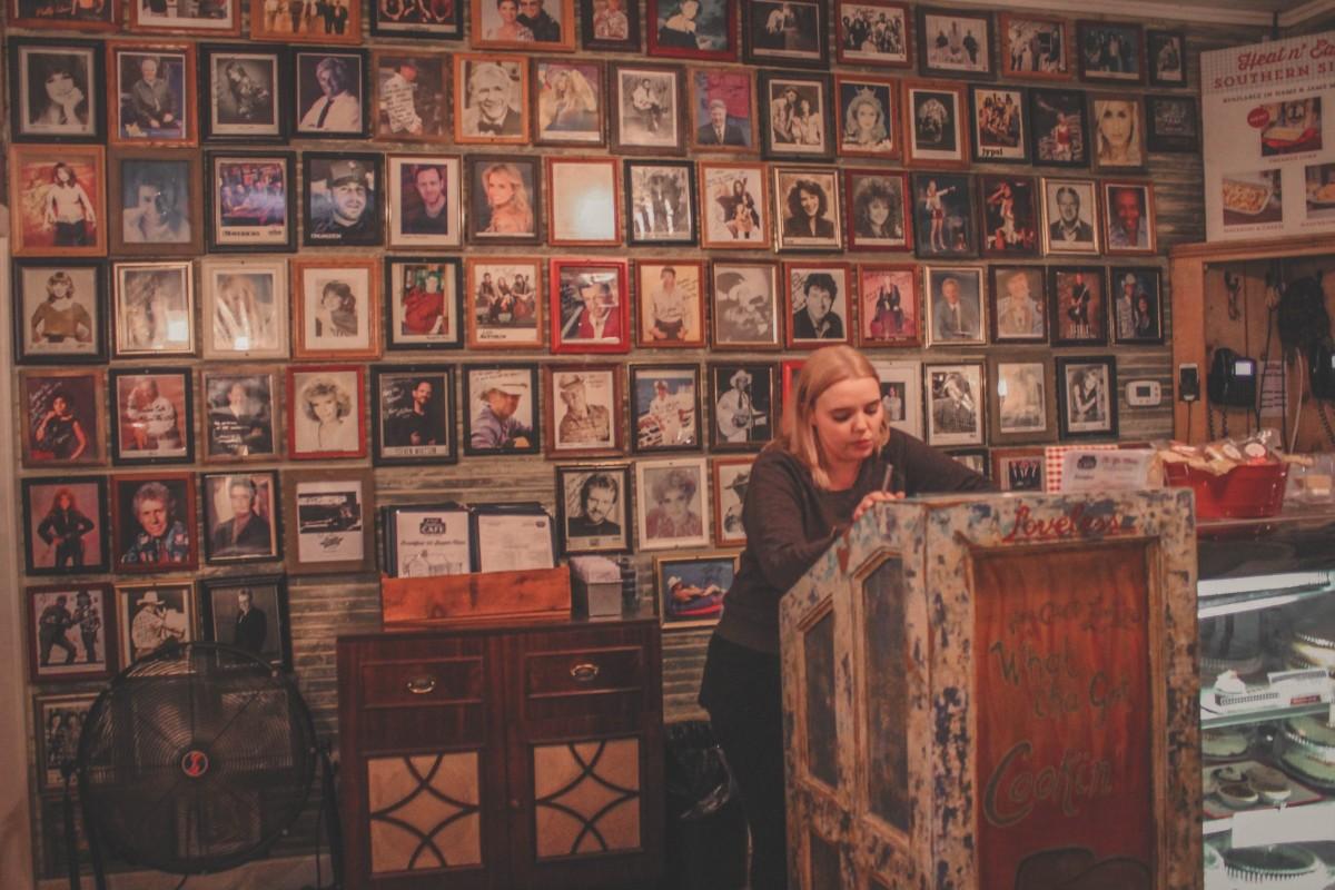Loveless cafe wall of photos at night in Nashville