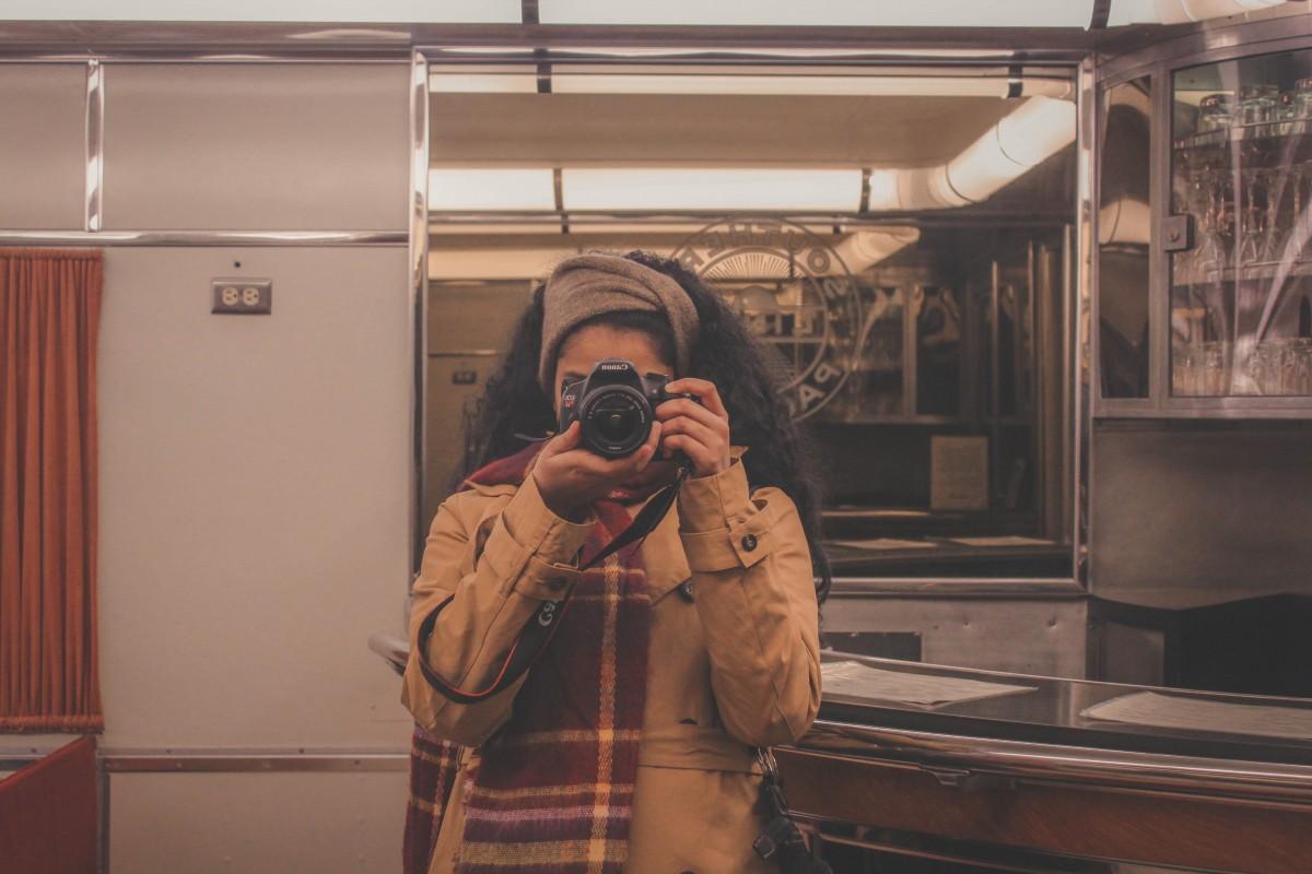 Train car mirror selfie whilst visiting Omaha