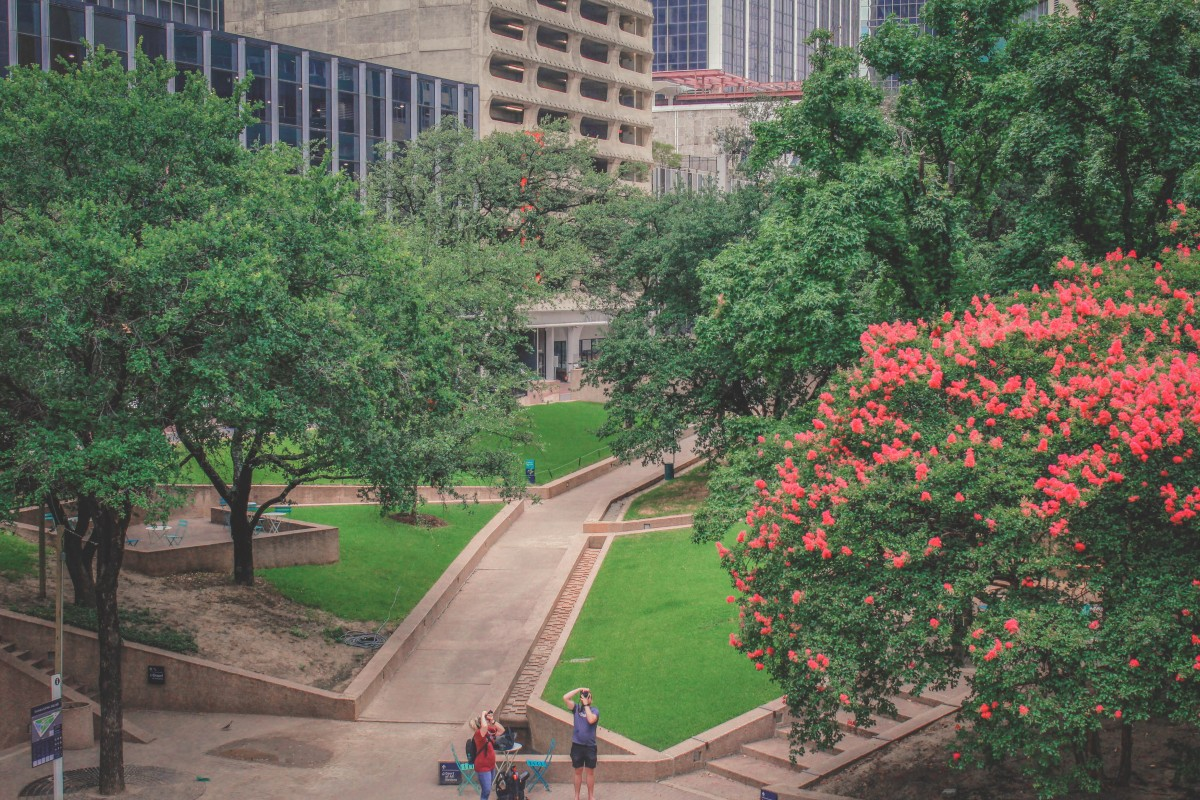 Thanks-Giving Square in full greenery is one of the prettiest parks in Dallas