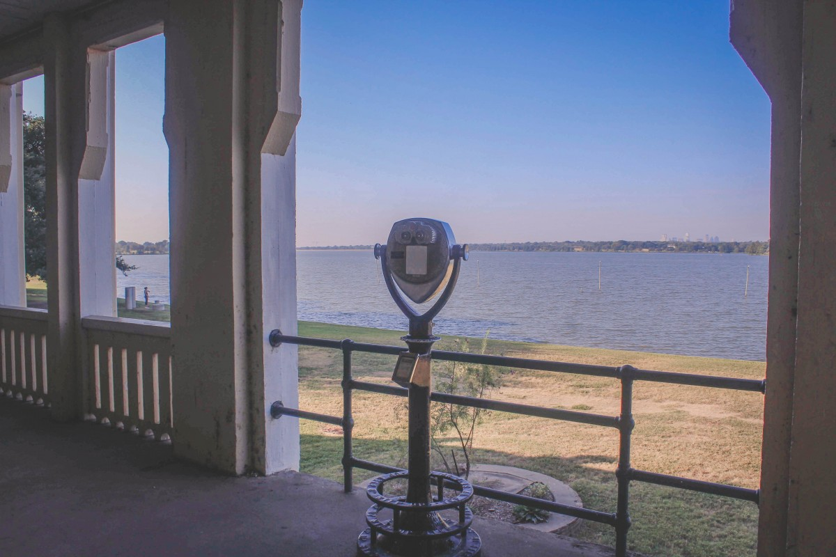 sweeping views of White Rock Lake from Bath House Cultural Center