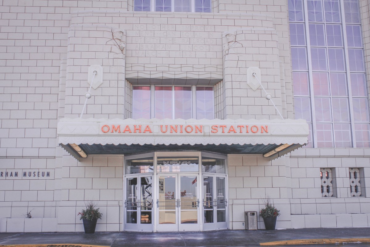 Front entrance of Union Station in Omaha (also known as the Durham Museum)