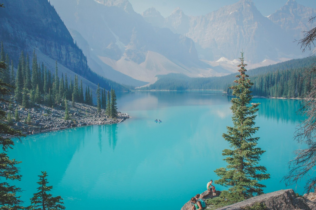 Moraine Lake in Canada with one kayaker out in the water
