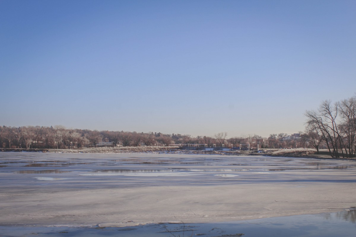 Gray's Lake iced over in the winter
