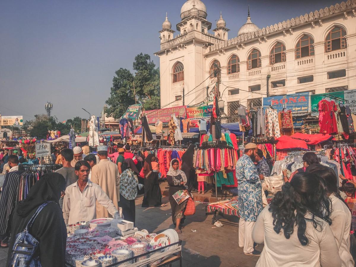 shops at a Hyderabad market