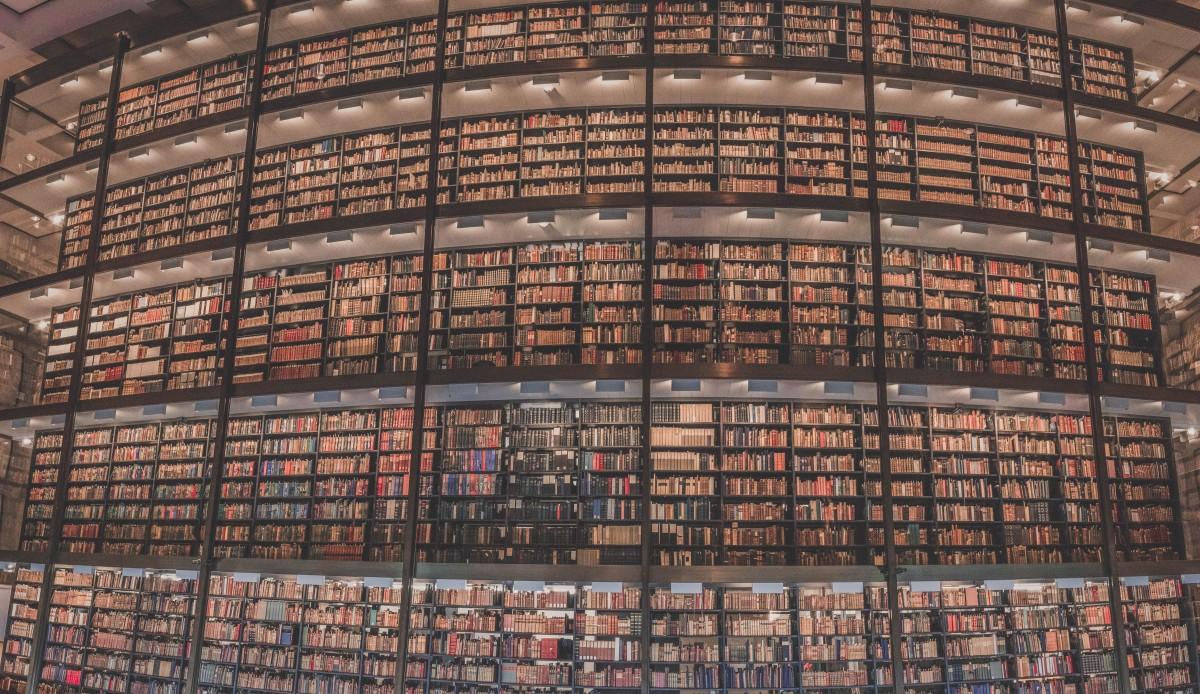 Beinecke Rare Book interior illusion of tall shelves