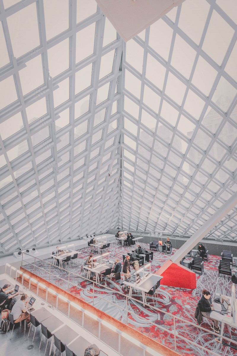 most beautiful libraries in the US: panels of the Seattle Central Library