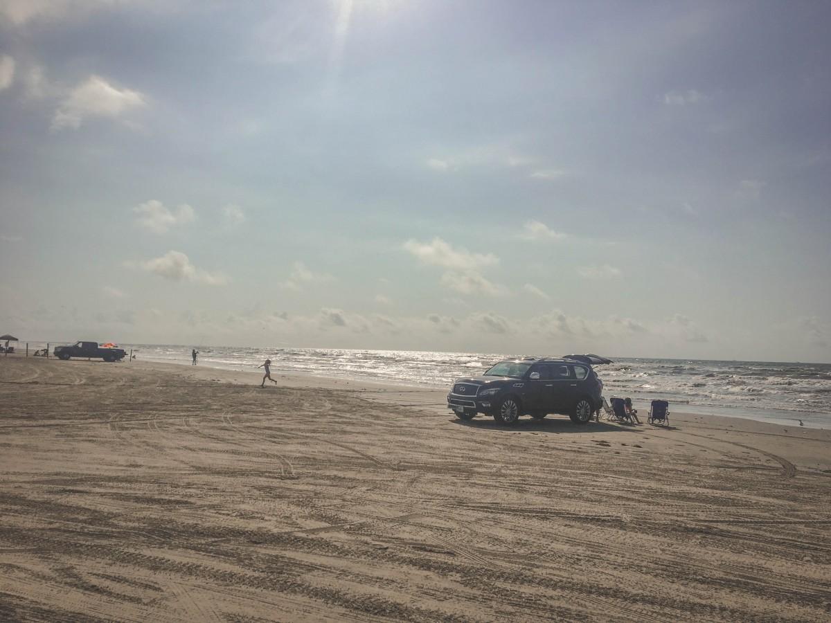 Jamaica Beach cars on the sand