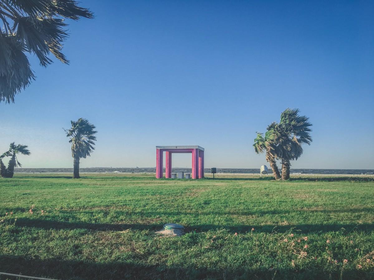 iconic pink cabana in Magnolia Beach