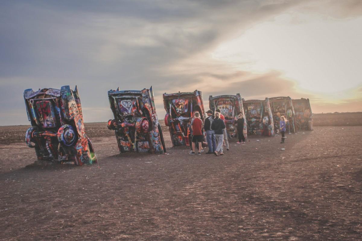 cadillac ranch at sunset