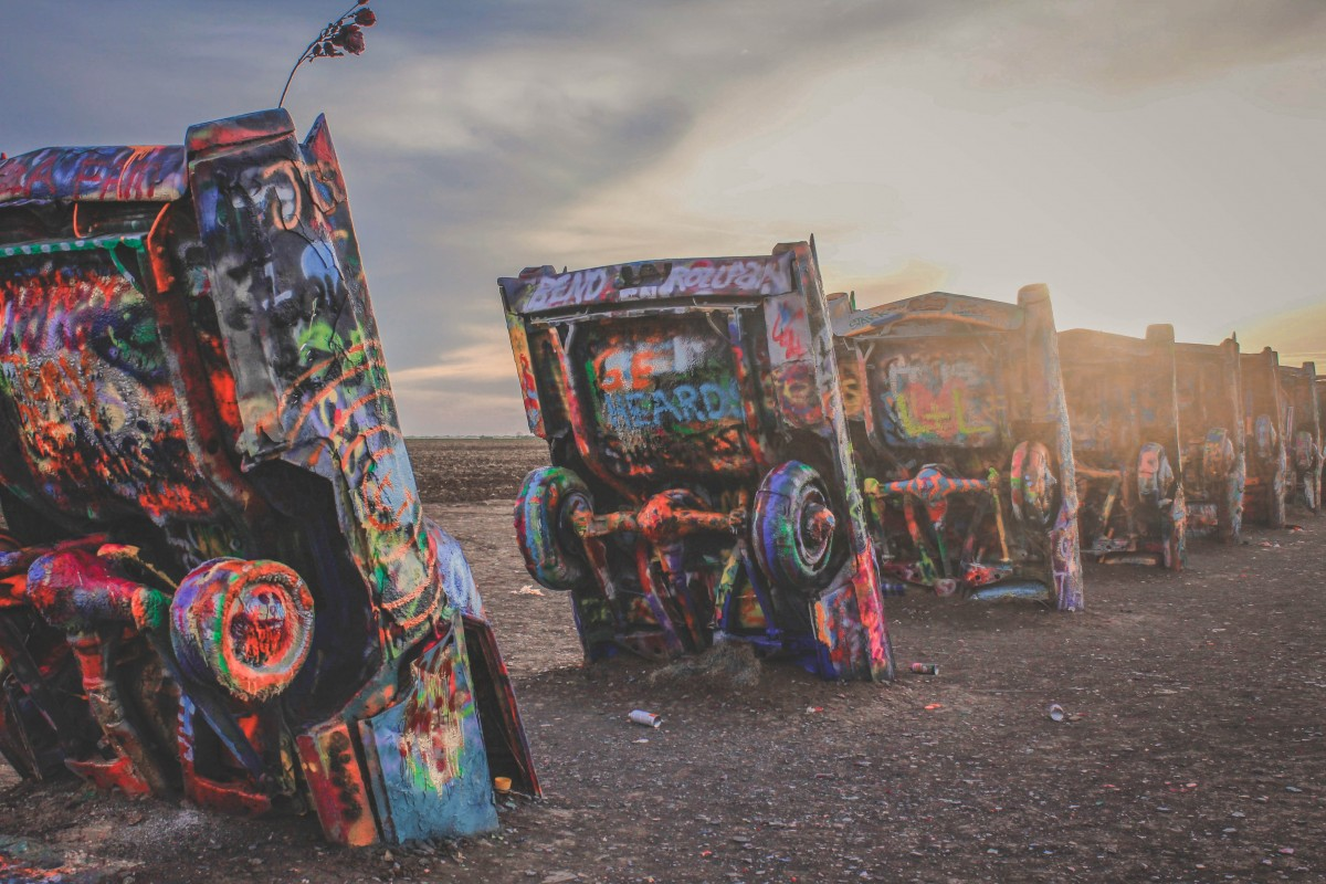 Things To Do In Amarillo, Texas: Cadillac Ranch at sunset