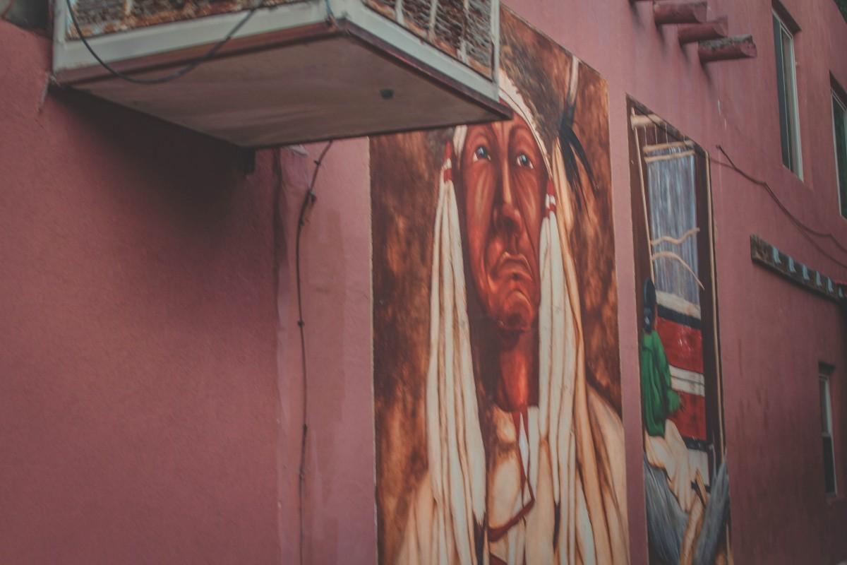 Street Art In Manitou Springs: Native American Mural In Alley