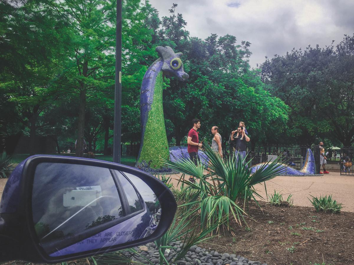 Loch Ness Statue in Mueller Park in Austin, Texas