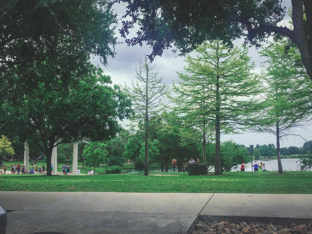 Gazebo and Lake of Mueller Park in Austin