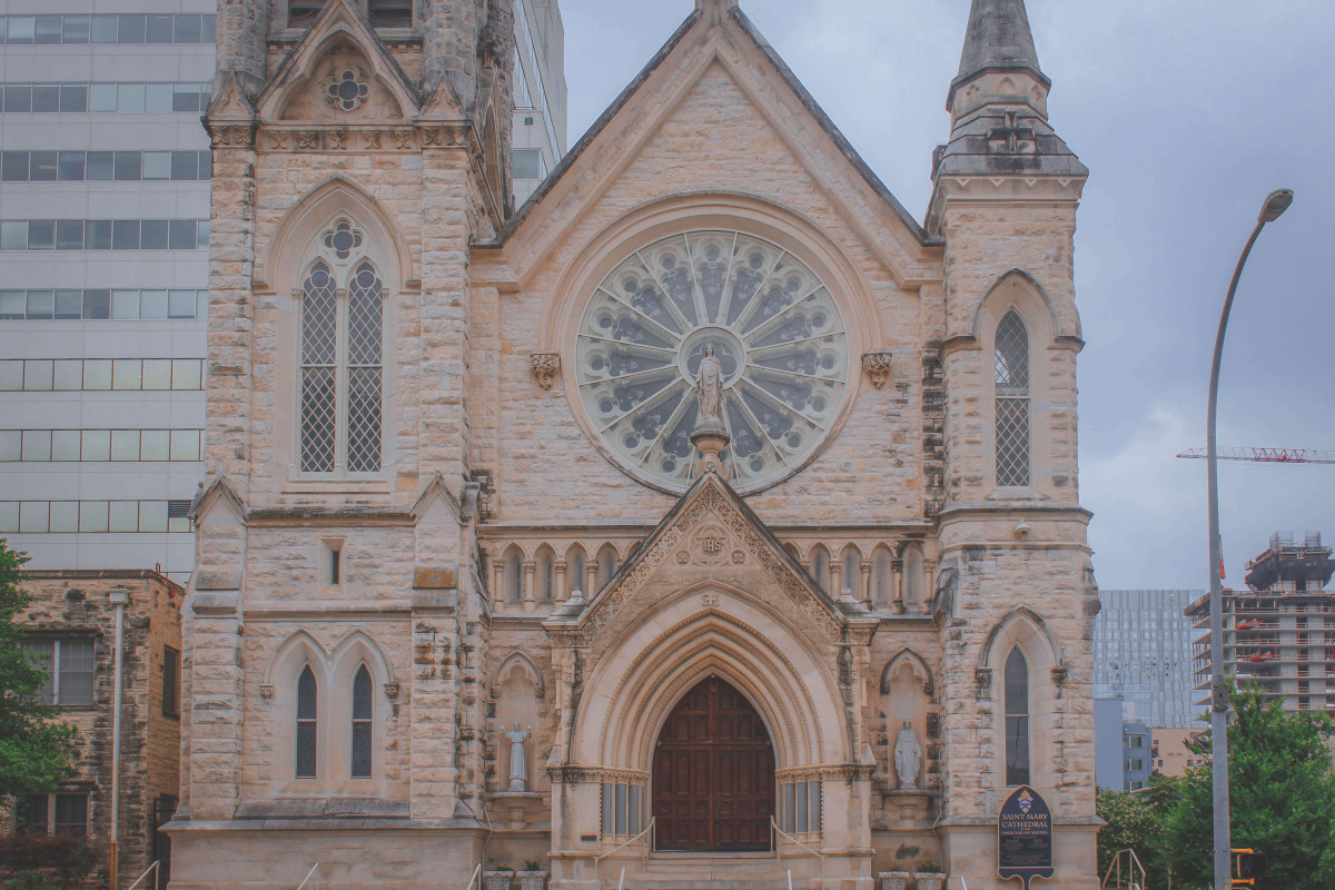 facade of St. Mary Cathedral in Austin, Texas