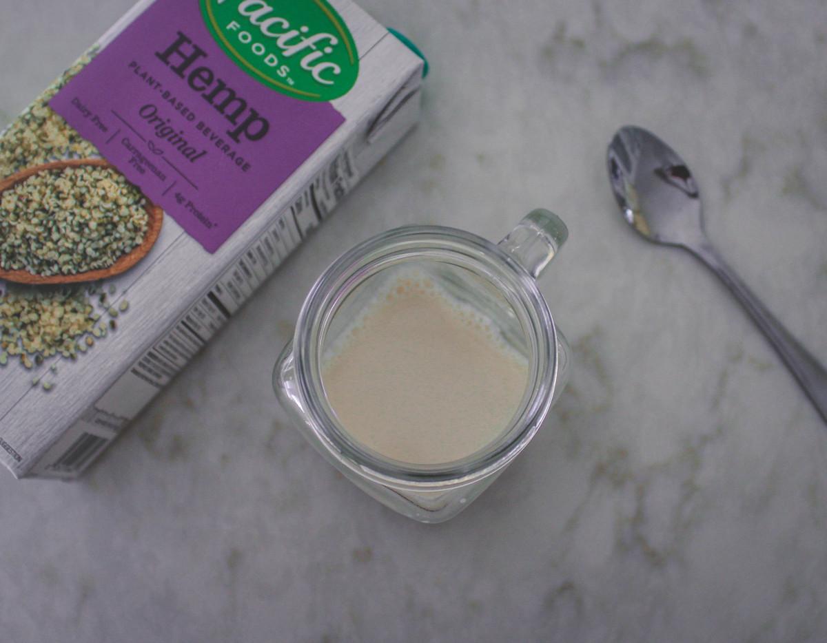 cup of hemp milk, one of the sweetest vegan milks