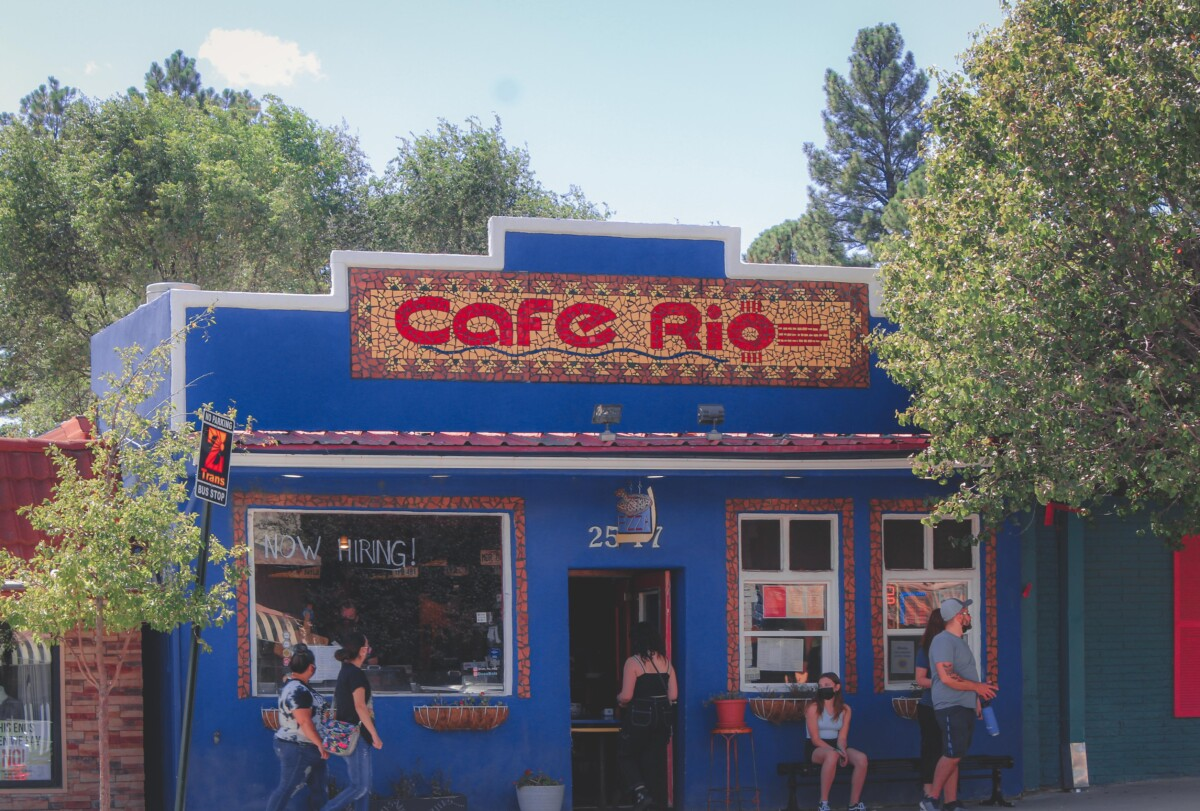 blue and tiled title exterior of Cafe Rio in Ruidoso, one of the most hyped restaurants in Ruidoso